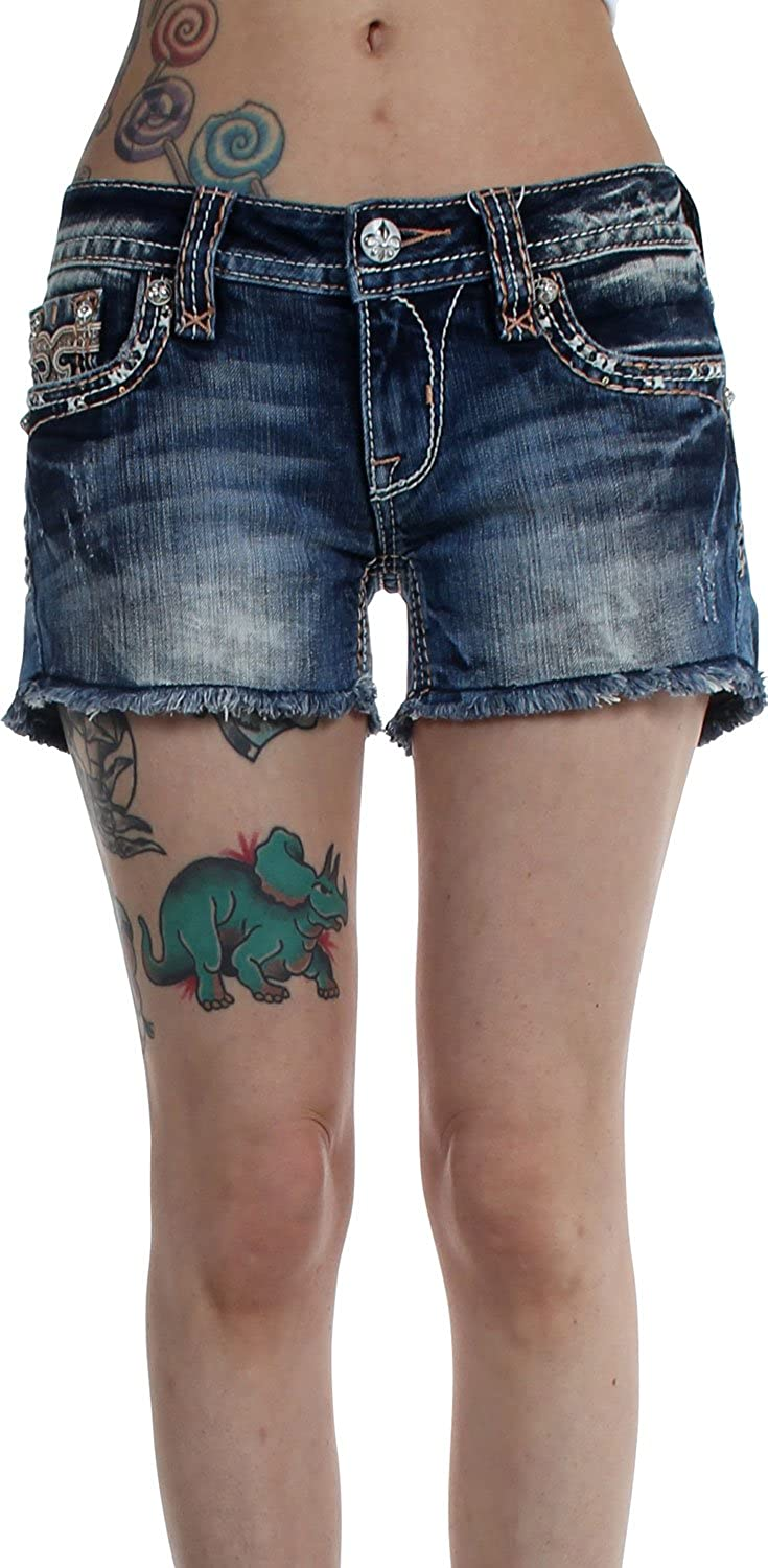 Good Rock Revival Womens Angie Shorts 24 H29 Denim