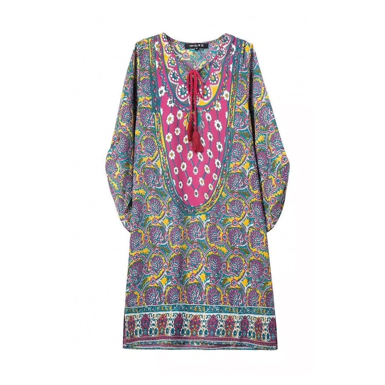 2016 Summer Chiffon Geometric Coachella Vintage Sky Blue Dress