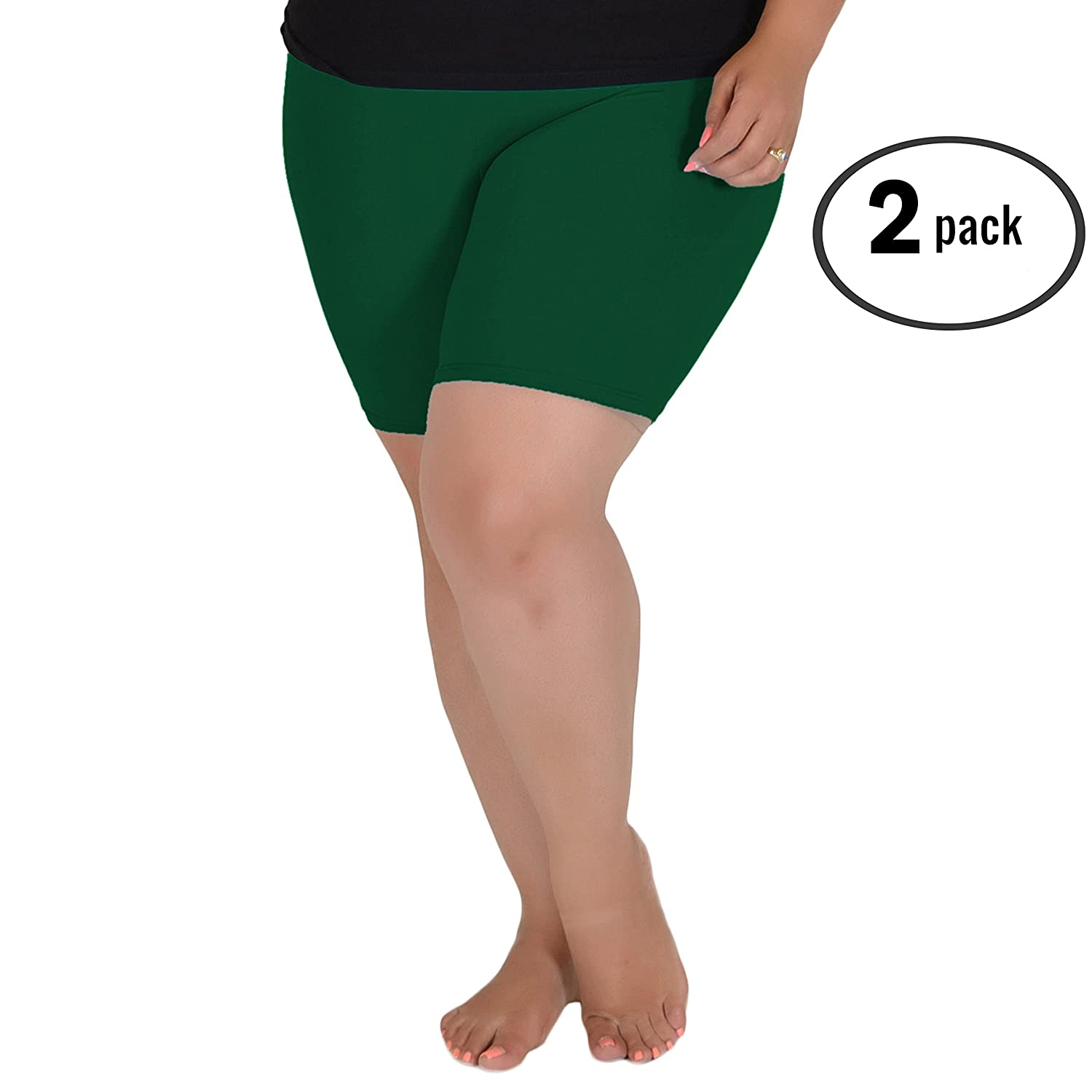 Stretch is Comfort Women's Pack of 2 Cotton Plus Size Bike Shorts L3004PS2PCK-$P