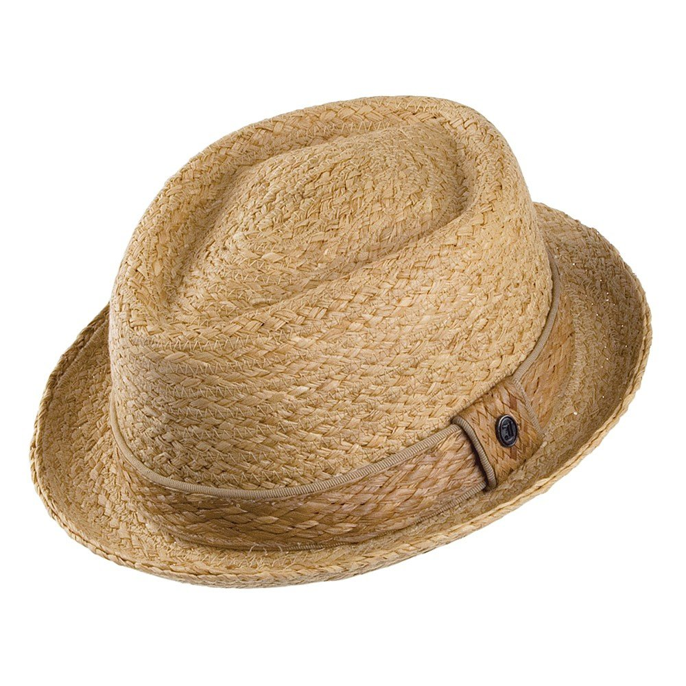 Jaxon & James Raffia Diamond Crown Pork Pie Hat - Natural