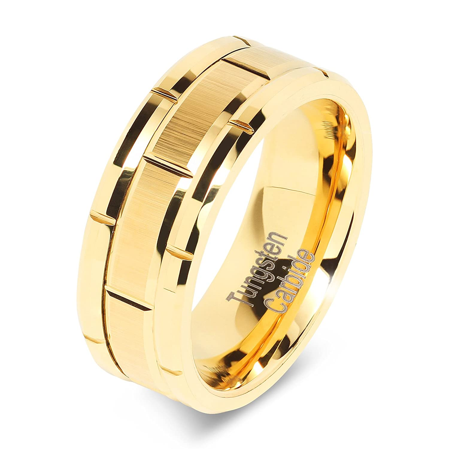 8mm Men's Tungsten Ring Wedding Band 14k Gold Brush Center & Grooves Size 8-16 100S JEWELRY NA