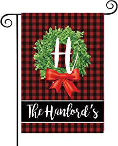 Lovenus Personalized Christmas Garden Flags 12.6 x 18.5 Double Sided Winter Holiday Christmas Decorative Indoor Outdoor Yard Flag with Family Name and Initial(W/O Flag Pole)