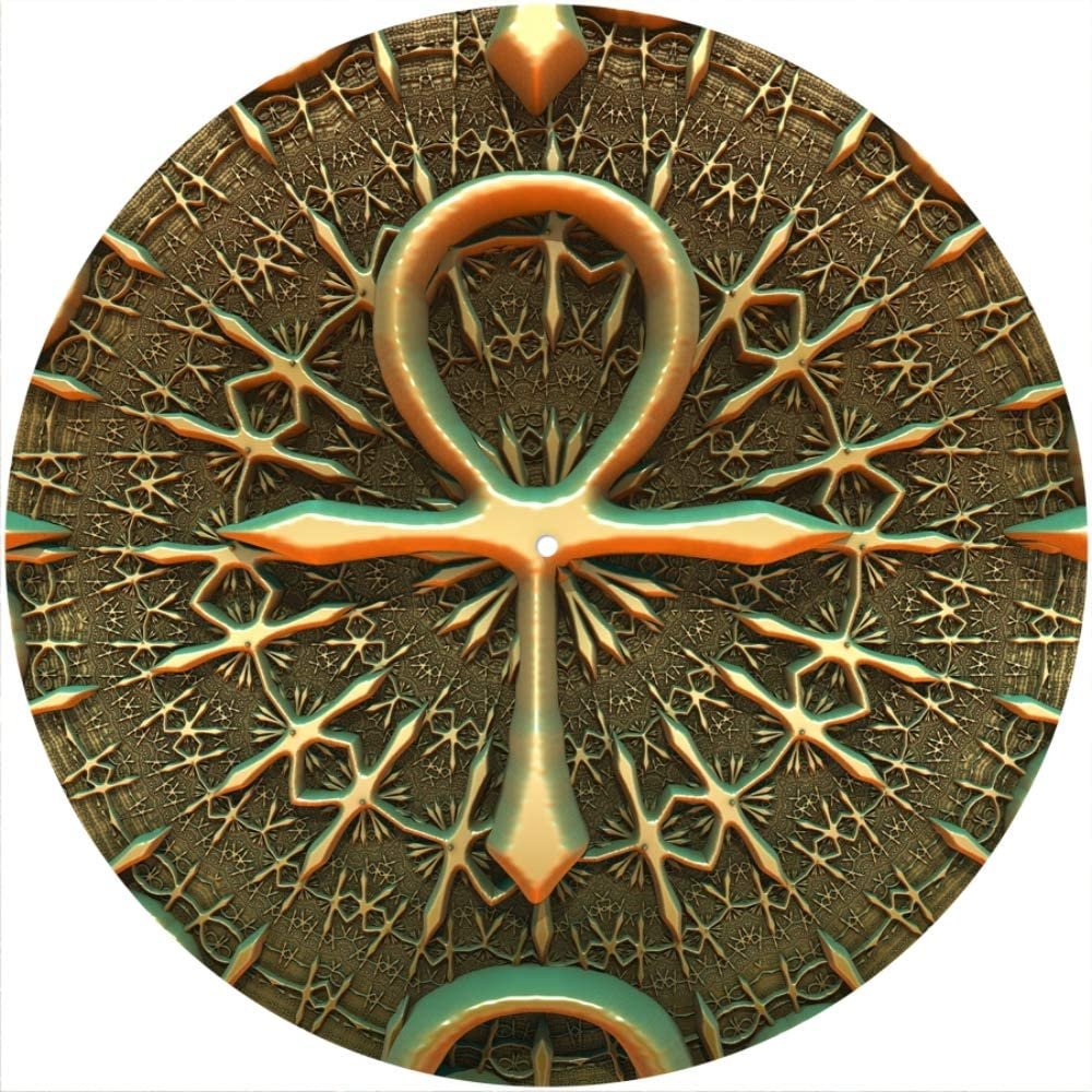 Slipmat Rutschmatte//Kratzmatte aus Filz f/ür jeden 30,5 cm LP DJ Vinyl Plattenspieler Custom Graphisch Ankh gepr/ägt