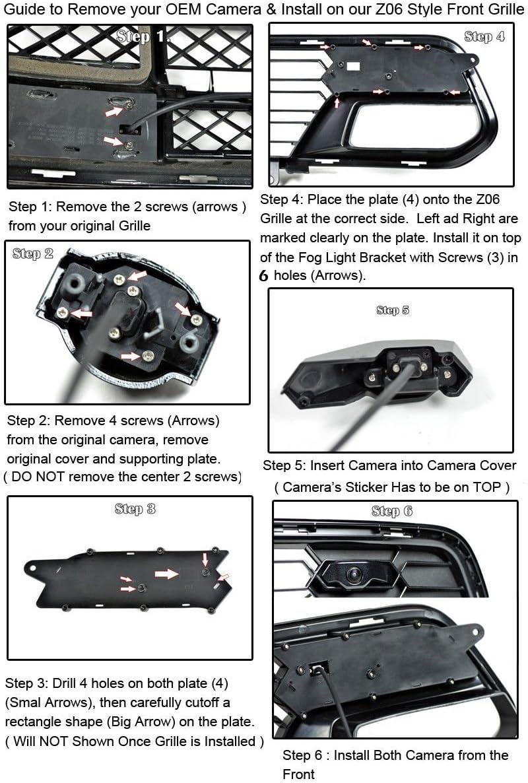 Carbon Flash Z06 Style Front Bumper Grille HW For 14-Up Corvette C7 No Camera