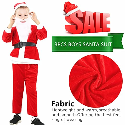 Plush Child Santa Claus Suit Christmas Costume Cosplay Outfit for Kids Boys  sc 1 st  Amazon.com & Amazon.com: Mannice Christmas Santa Claus CostumeVelvet Menu0027s ...