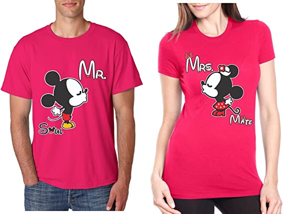 MRS COUPL MICKEY AND MINNIE T-SHIRTS VALENTINE MATCHING CUTE LOVE SOUL MATE MR