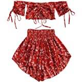 ZAFUL Women's Floral Off Shoulder Smocked Cropped Set Two Piece Flower Cinched Top Shorts Suit