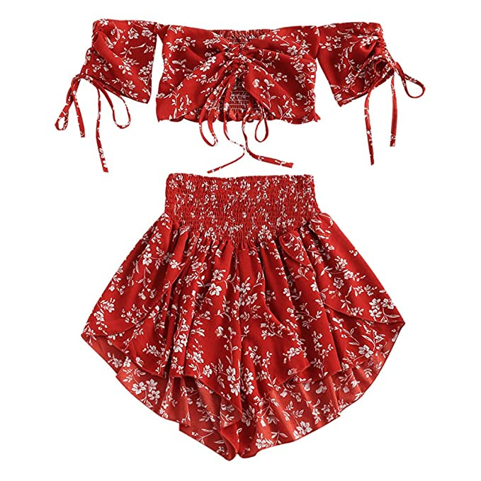 4ab574a8e46a ZEZCLO Women's Floral Two Piece Set Off Shoulder Drawstring Crop Top  Smocked Shorts Set Red S