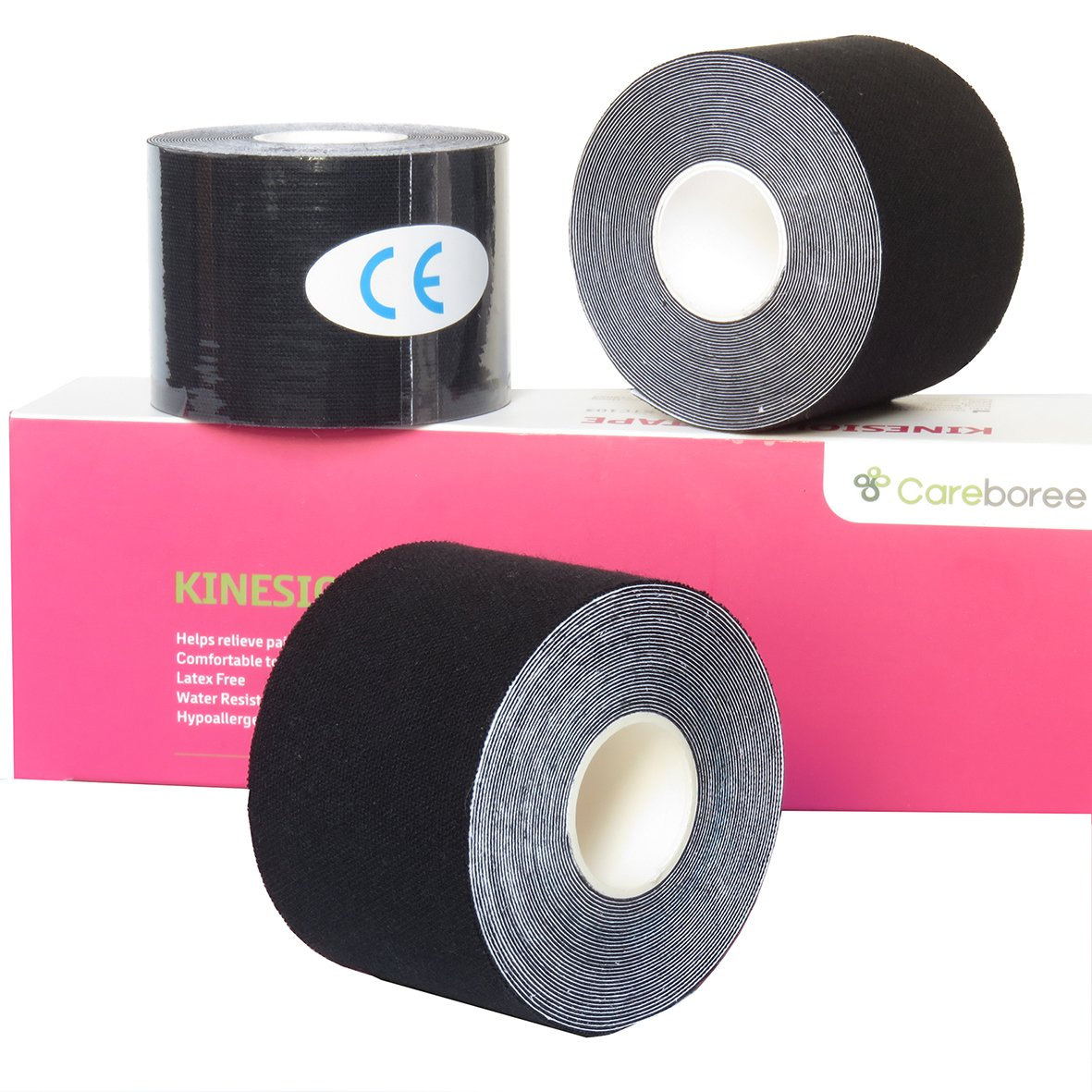 Careboree Kinesiology Tapes,Therapeutic Sport Tape,Pain Relief, Muscle Support for Knee, Shoulder & Ankle; Breathable,Water Resistant & Adhesive; Uncut Roll