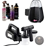 Aura Compact Elite Spray Tanning Machine Kit with Norvell Sunless Solutions Pro Bundle, Disposable Spa Feet and Black Pop Up Tanning Tent