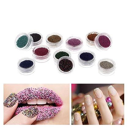 Amazon 12 Colors Glitter Mini Circle Caviar 3d Nail Art Beads