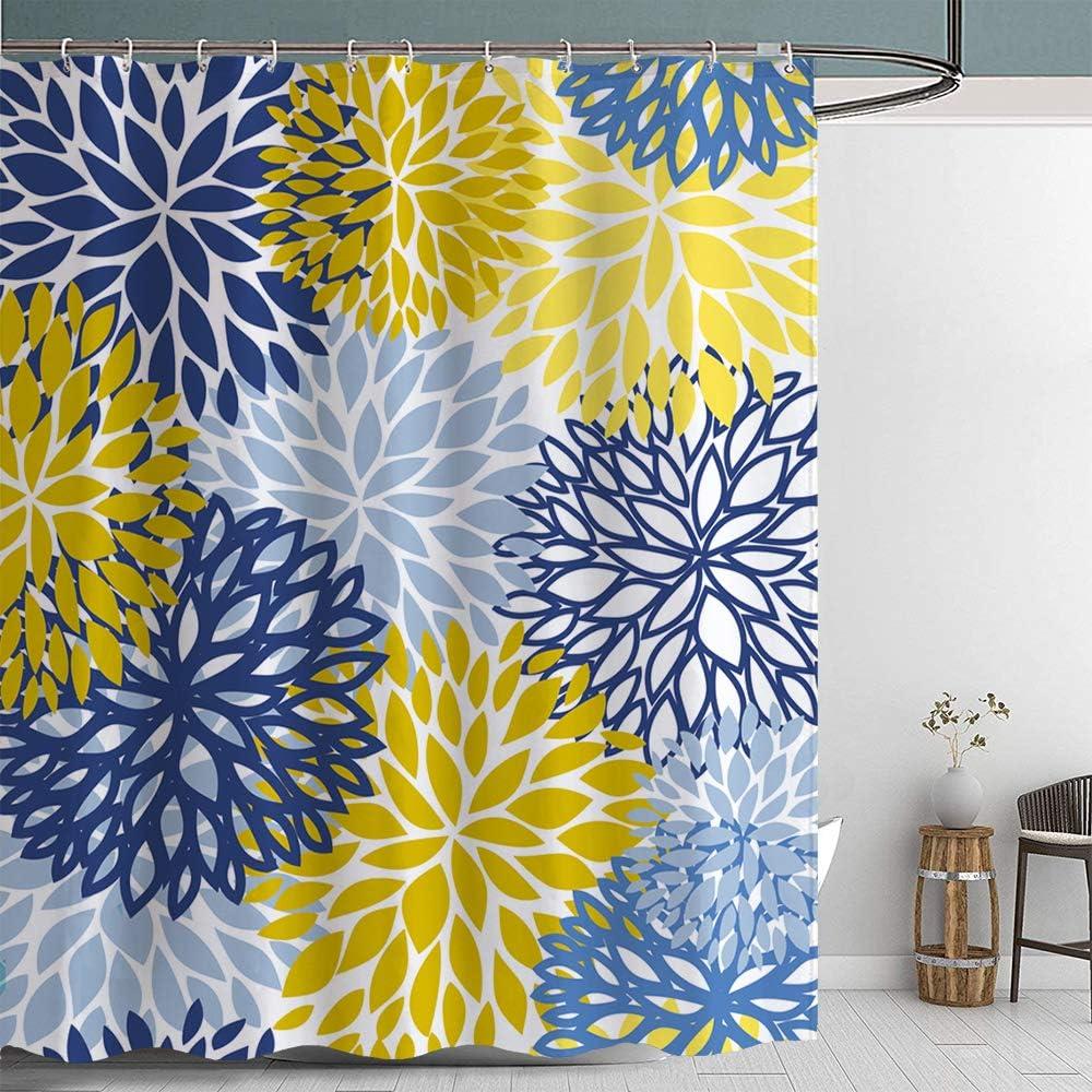 Jamehome Dahlia Flower Shower Curtain Floral Bath Curtain Waterproof Polyester Fabric Bathroom Decor Set Navy Blue Grey Yellow 72x72 inches