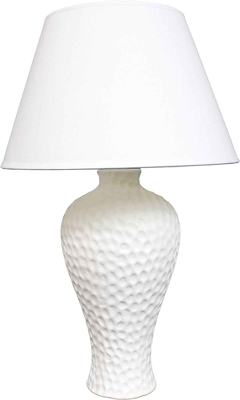 Simple Designs Home LT2004-WHT Stucco Curvy Ceramic Table Lamp, White