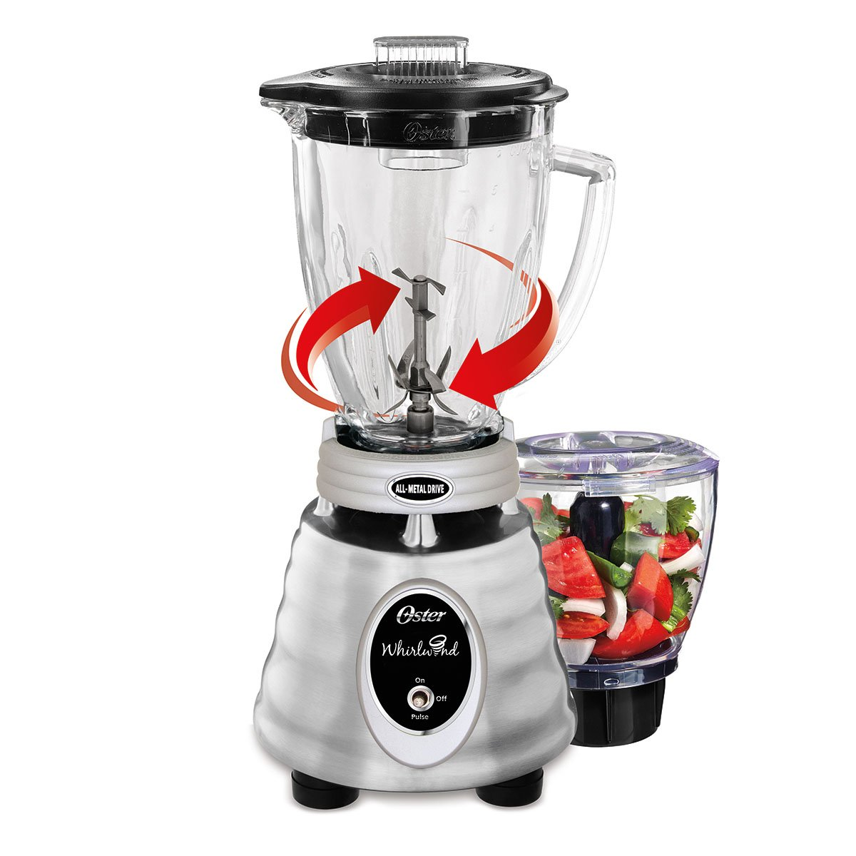 Oster Classic Series Whirlwind Blender with Glass Jar, Brushed Stainless BPMT02-SS0-000
