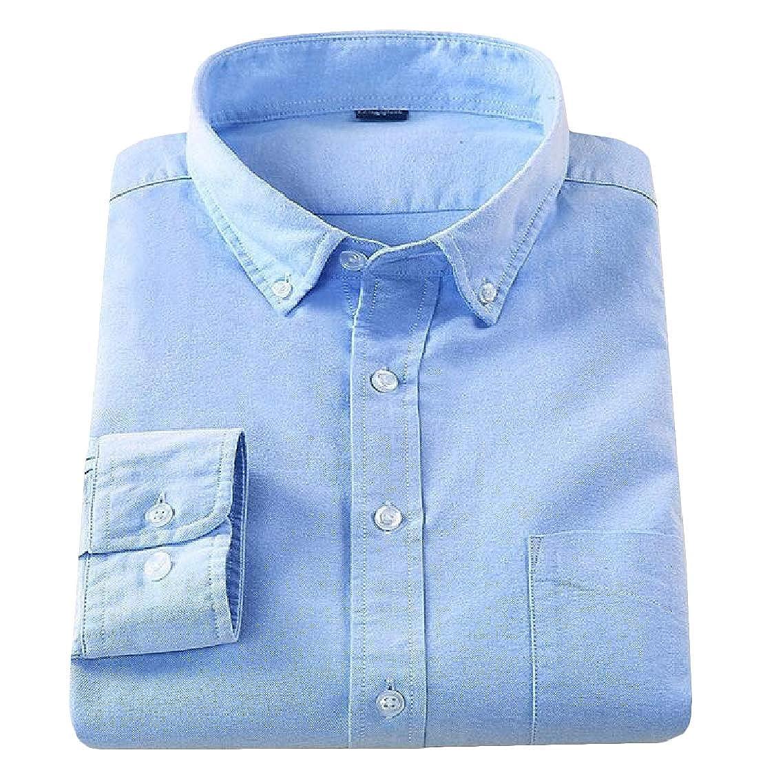 Hajotrawa Mens Casual Oxford Button-Down Long-Sleeve Cozy Shirt
