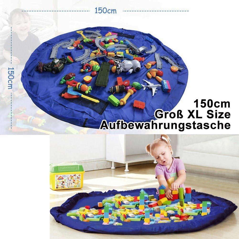 Baby Spieldecke Kinderspielzeug Aufbewahrungsbeutel f/ür Kinderzimmer Outdoor Picknick Blau Kinder Aufr/äumsack mit Drawstring Spielzeug Aufbewahrungsbox mit Deckel Tragegriff