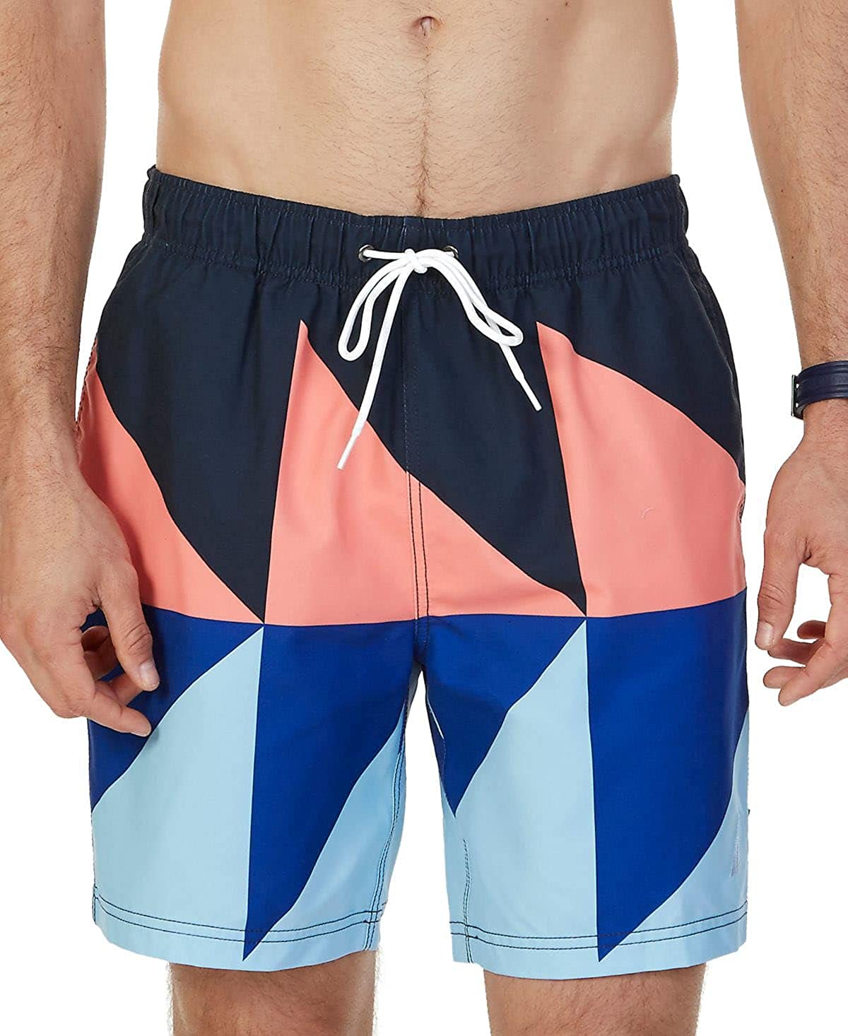 Nautica Quick Dry Geo Color Block Swim Trunk