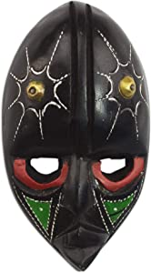 NOVICA Ghanaian Brass and Wood Hand Carved Mask, Multicolor, Stellar Thoughts'