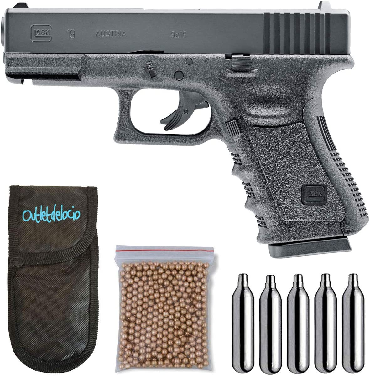 Umarex U58358. Pistola perdigon Glock 19 Gas Co2. 4,5mm. + Funda Portabombonas + Balines + Bombonas co2. 23054/29318/38123
