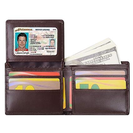 Billetera para Hombre Sailinna Carteras Inhibidora de RFID con Tarjetero de Cuero auténtico con Compartimento Transparente de Doble Cara y Caja de ...