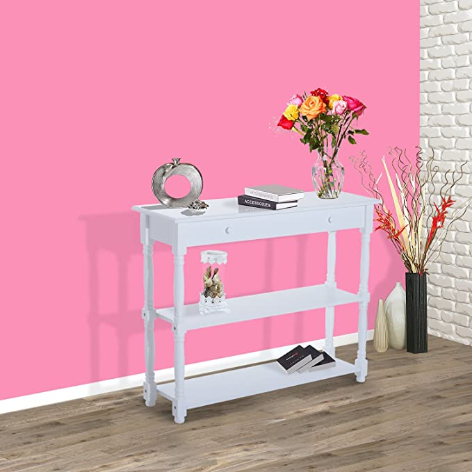 HOMCOM Entryway Wood Console Table with 2-tier of Shelves Hallway ...