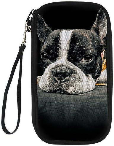 French Bulldog Dog Cute Womens RFID Blocking Zip Around Wallet Genuine Leather Clutch Long Card Holder Organizer Wallets Large Travel Purse