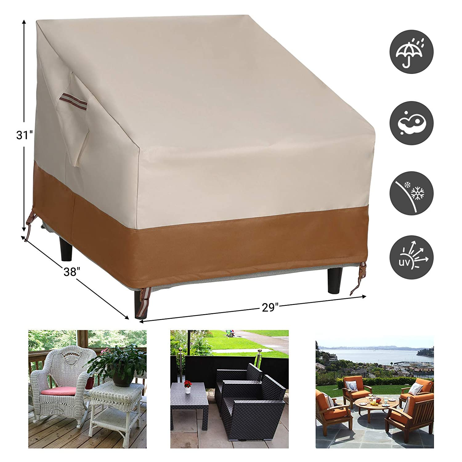 SONGMICS Patio Bench Cover 600D Bench Loveseat Protective Sofa Cover for Deep Lounge Sofa Bench and Outdoor Furniture Waterproof and Anti-Fade UGSC147EC