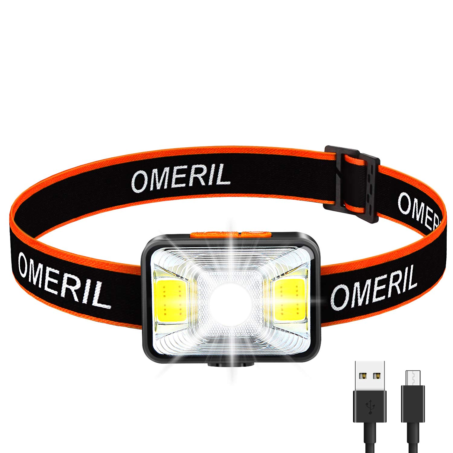 c742ec07c OMERIL Linterna Frontal LED USB Recargable, Linterna Cabeza Super  Brillante, 5 Modos de Blanco