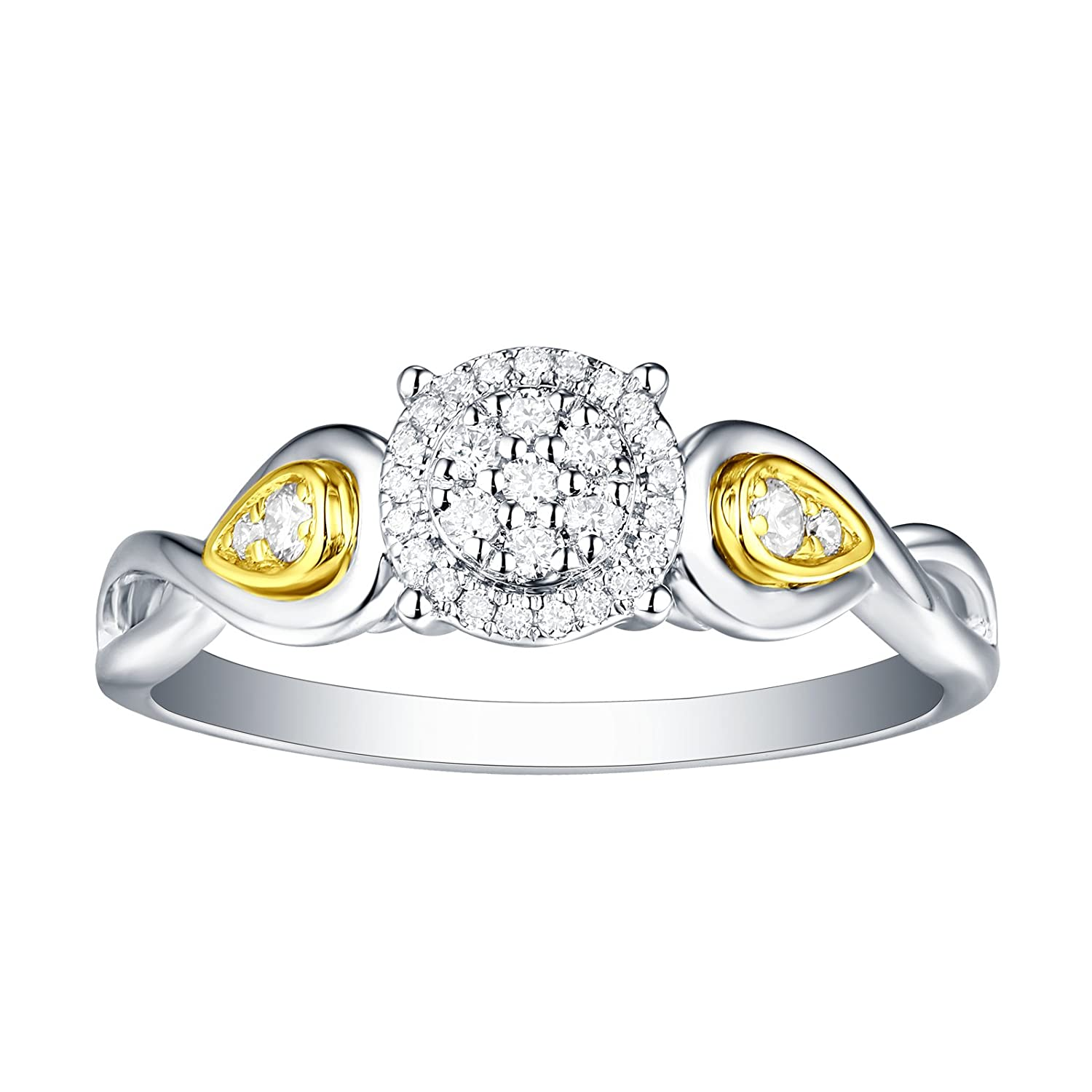 Prism Jewel 0.17Ct G-H//SI1 Natural Diamond Two-Tone Gold Engagement Ring
