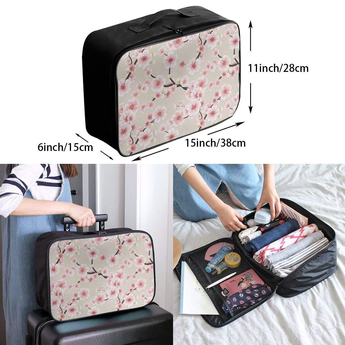 ADGAI Japanese Flowering Cherry Blossom Canvas Travel Weekender Bag,Fashion Custom Lightweight Large Capacity Portable Luggage Bag,Suitcase Trolley Bag