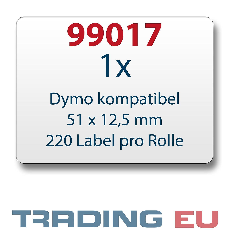 1x Label kompat zu Dymo 99017 51 x 12,5 mm 220 Label Etiketten pro Rolle