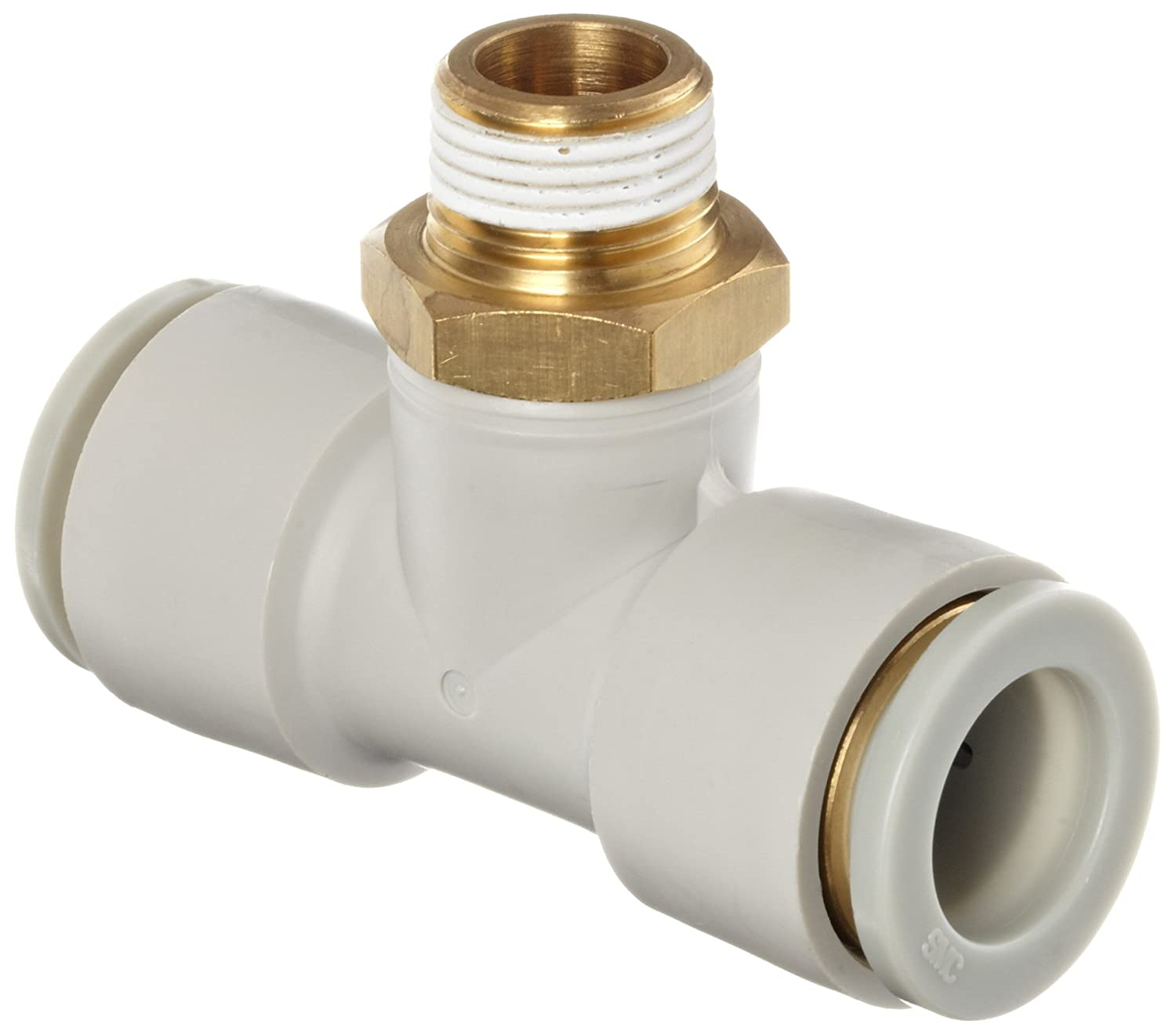 SMC KQ2T06-01AS PBT /& Brass Push-to-Connect Tube Fitting with Sealant Branch Tee 6 mm Tube OD x 1//8 BSPT Male