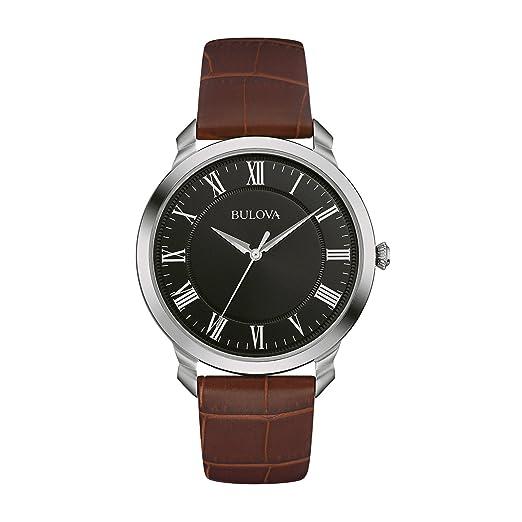 a1f88db4082c Bulova Classic 96A184 - Reloj de Pulsera de diseño Elegante para Hombre -  Correa de Cuero marrón - Negro  Amazon.es  Relojes