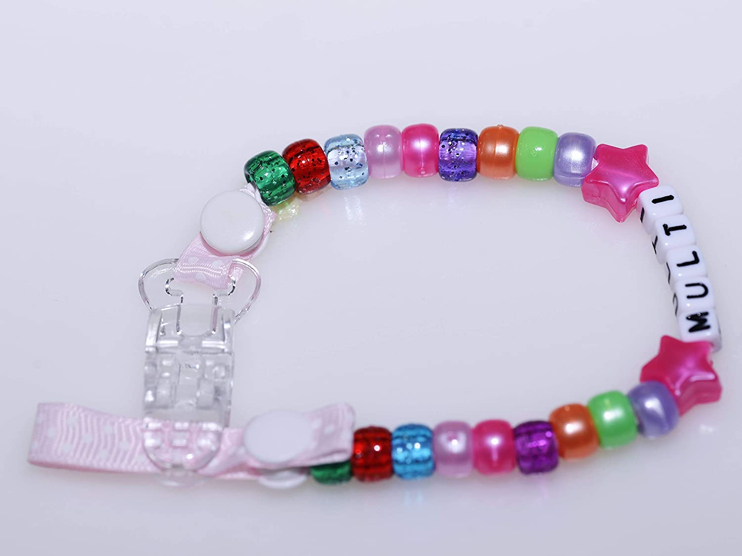 Hot Pink, with Bow Personalised Dummy Chain for Baby Girl Baby Boy by Polka Dot Ribbon with Any Name in Many Colours