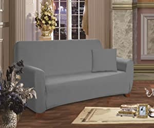 Elegant Comfort Furniture Jersey Stretch Slip-Cover, Sofa Gray