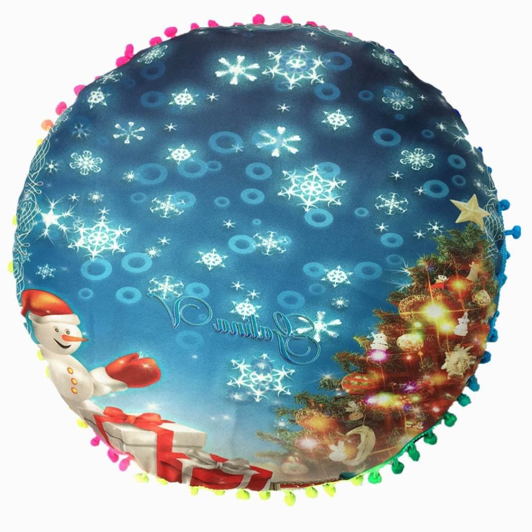 43*43cm Bohemian Cushion Cover, HUHU833 Christmas Xmas Pillows Round Bohemian Tassel Home Pillows Case (A)