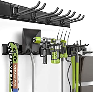 Heavy Duty Garage Storage Wall Mount Rack, Garage Tool Organizer Hanger With 6 Hooks 3 X 16 Inch Tracks Max Load 265lb, Wall Holders For Garages, Garden, Bikes, Sheds, Ladders