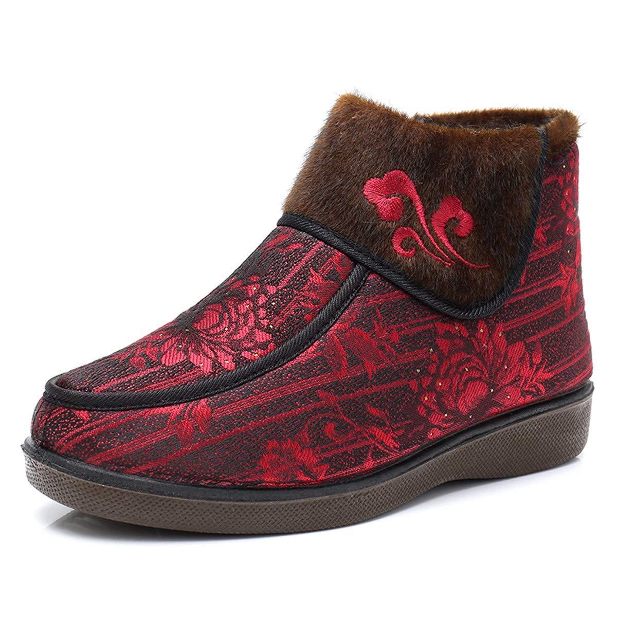 marron Forty HBDLH Chaussures pour Femmes l'hiver Le Vieux Pékin Coton Tissu Chaussures Les Chaussures Les Chaussures Antidérapantes - Laine Chaud D'Âge Moyen Et Les Personnes Âgées Mothers'chaussures Frange