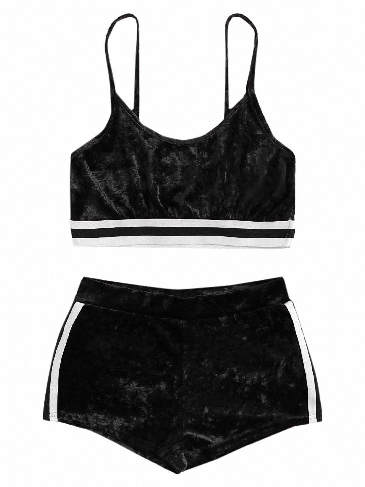 SweatyRocks Women's 2 Piece Velvet Spaghetti Strap Crop Tank Top and Shorts Set Tracksuits Black L