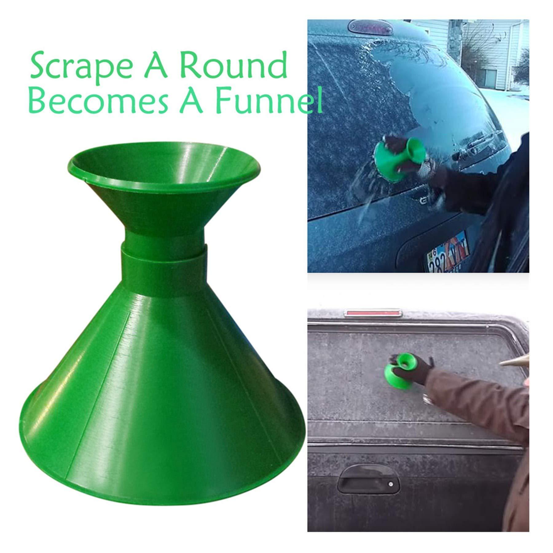 Challyhope Scrape A Round Ice Scraper Magic Scraper Cone Windshield Ice Scraper Snow Scraper Snow Removal Tools (Green)