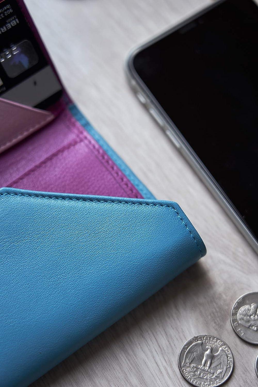Fabricada en Espa/ña 10 Ranuras para Tarjeta Realizada a Mano por Artesanos de Ubrique con Bloqueo RFID y NFC Cartera para Mujer Azul Piel de Vacuno Autentica KOSETI