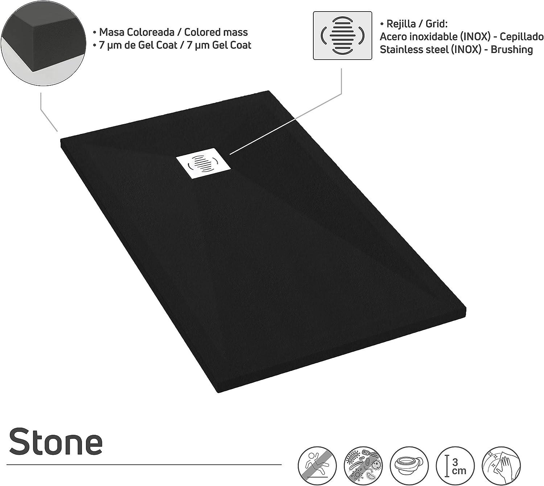 Effetto Pietra e ultraslim Tutte le misure disponibili Sifone e Griglia Inox inclusi Piatto doccia Resina Ardesia Antiscivolo Stone 100 x 130 Nero RAL 9005