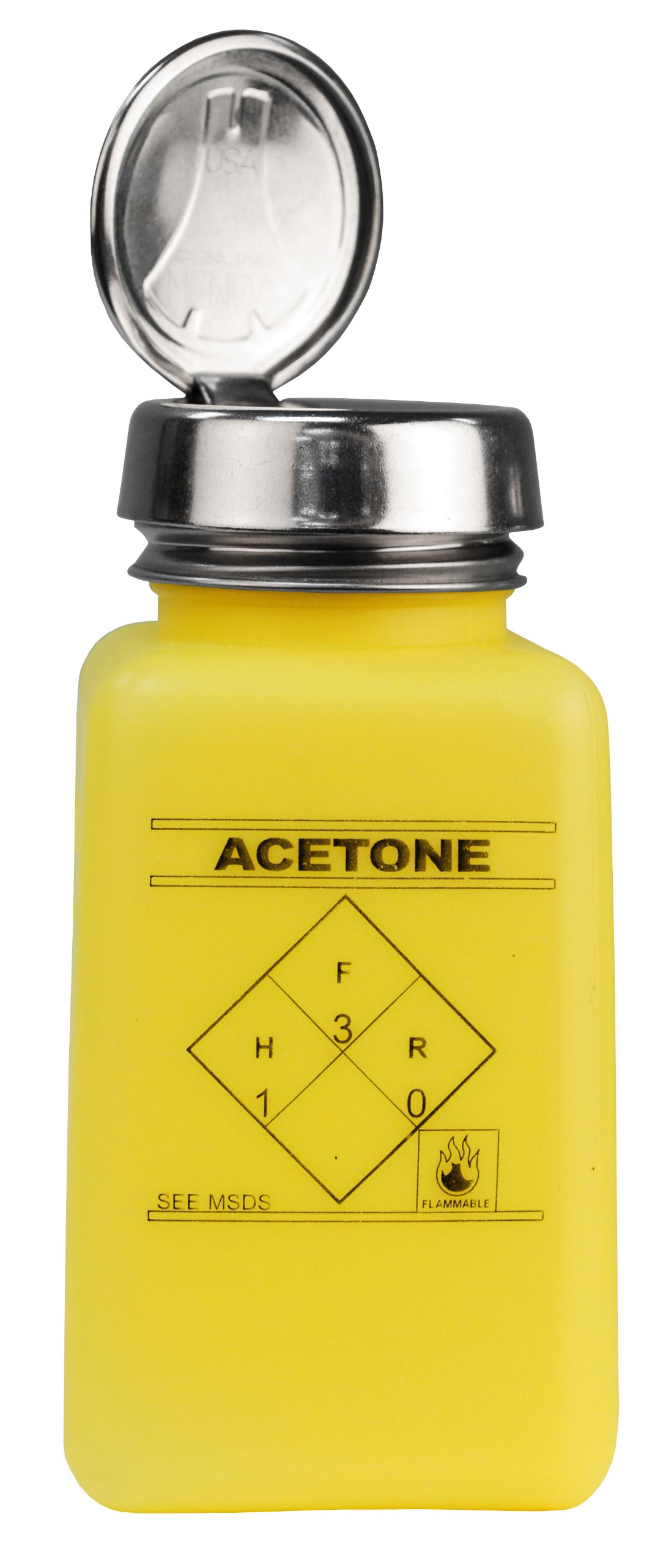 MENDA 35277 durAstatic HDPE ESD Safe One-Touch Pump Dissipative Bottle, Acetone Printed, Yellow, 6 oz Volume