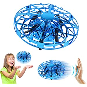 Hand Operated Drones for Kids or Adults - Air Magic Scoot Hands Free Mini Drone Helicopter, Easy Indoor UFO Flying Ball Drone Toys for Boys or Girls (Blue)