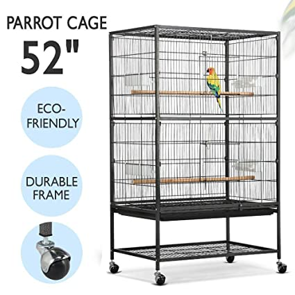 00abab5cf9187 Yaheetech 52 quot  Wrought Iron Standing Extra Large Bird Cage for African  Grey Quaker Amazon Parrots