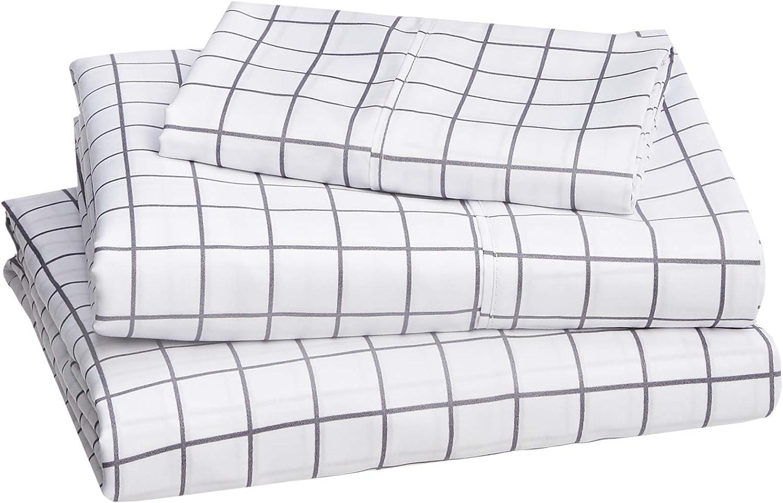 "AmazonBasics Lightweight Super Soft Easy Care Microfiber Bed Sheet Set with 16"" Deep Pockets - Full, Blue Grey Windowpane"