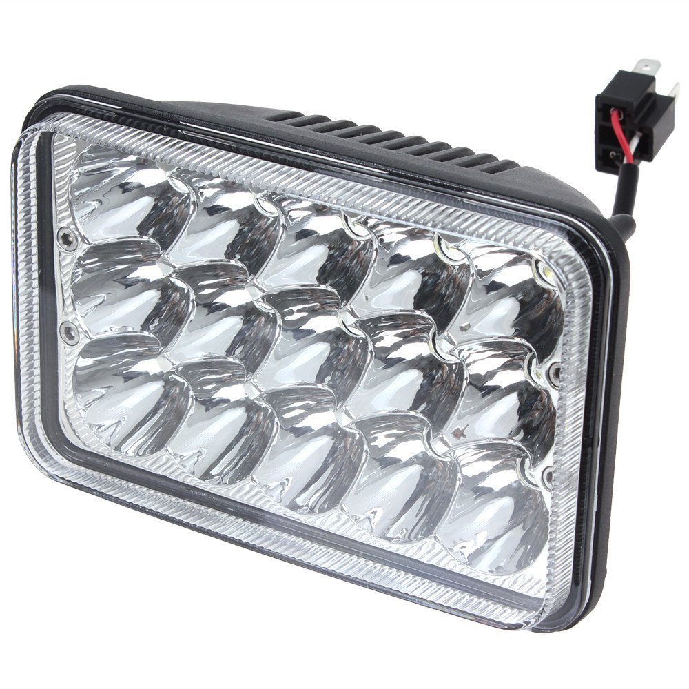 Pair 4x6 Led Cree Headlights Crystal Clear Sealed Beam