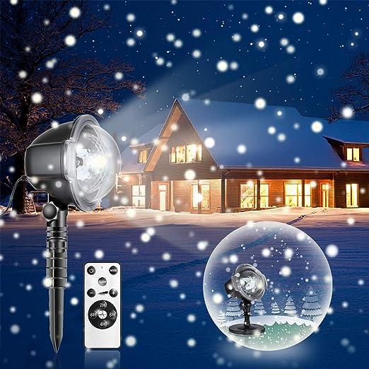 LED Proyección Proyección Navidad luces proyector bombilla con mando a distancia de caso de nieve efecto de luz ánimo iluminación para Navidad Party ...