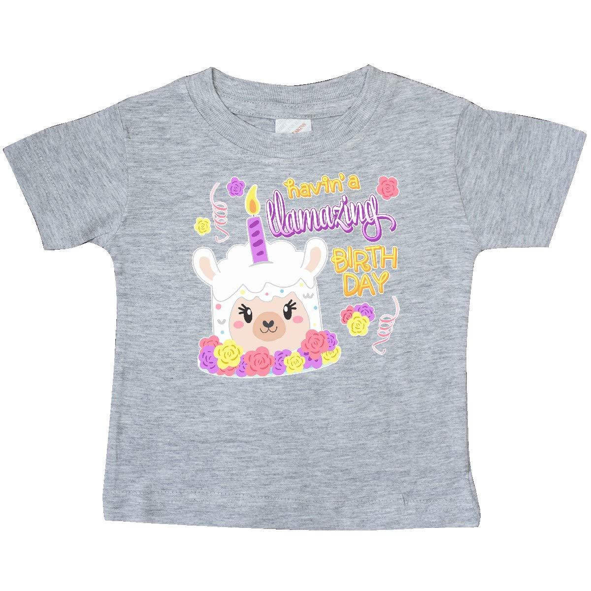 Cute Llama Cake Baby T-Shirt inktastic Havin an Llamazing Birthday