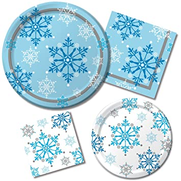Snowflake Swirls Winter Party Pack! Bundle Includes Paper Plates \u0026 Napkins for 8 Guests  sc 1 st  Amazon.com : snowflake paper plates - pezcame.com